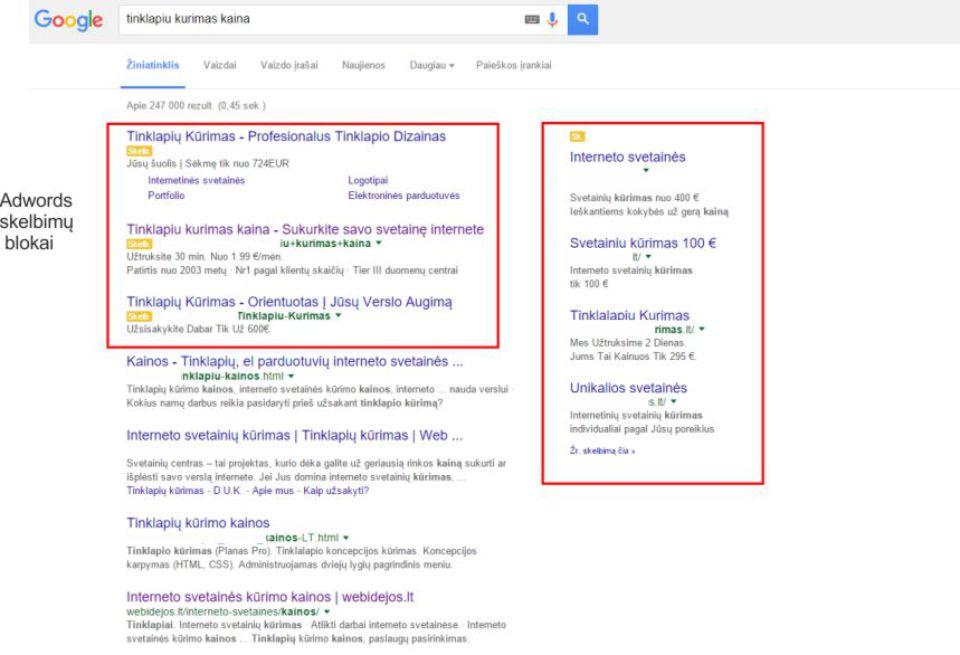 reklama Google Adwords , Google Adwords blokai