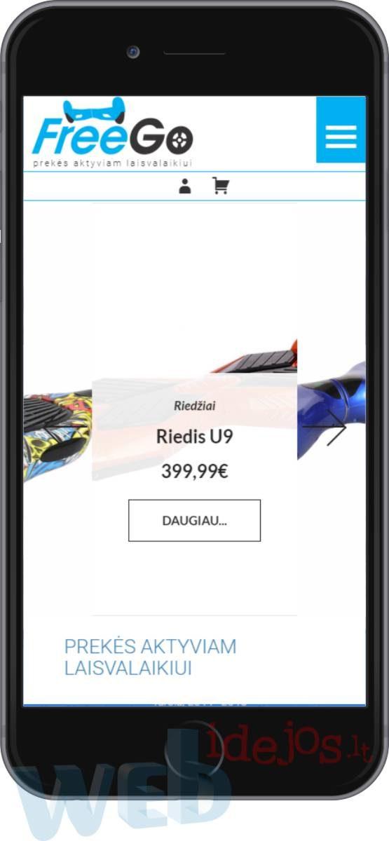 e-parduotuves sukūrimas versija mobiliems