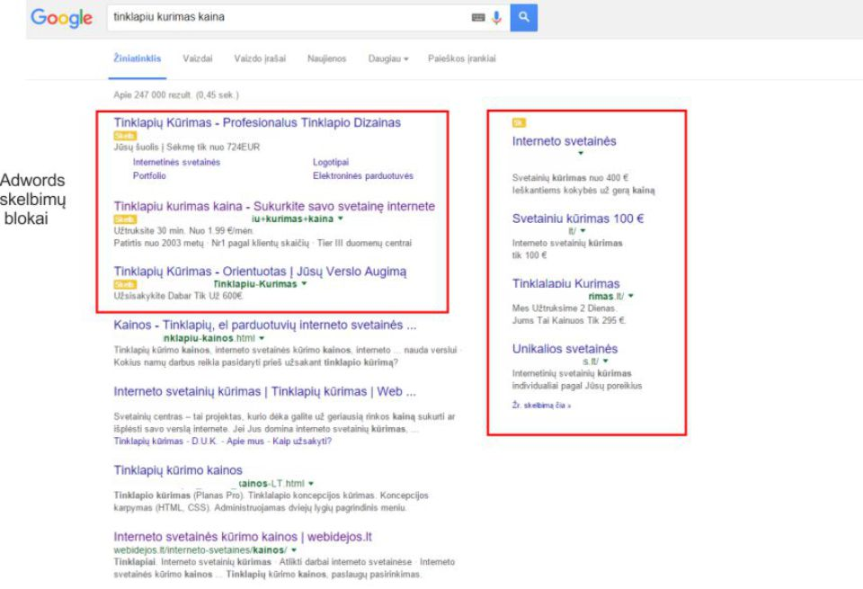 reklama Google Adwords , Google Adwords blokai