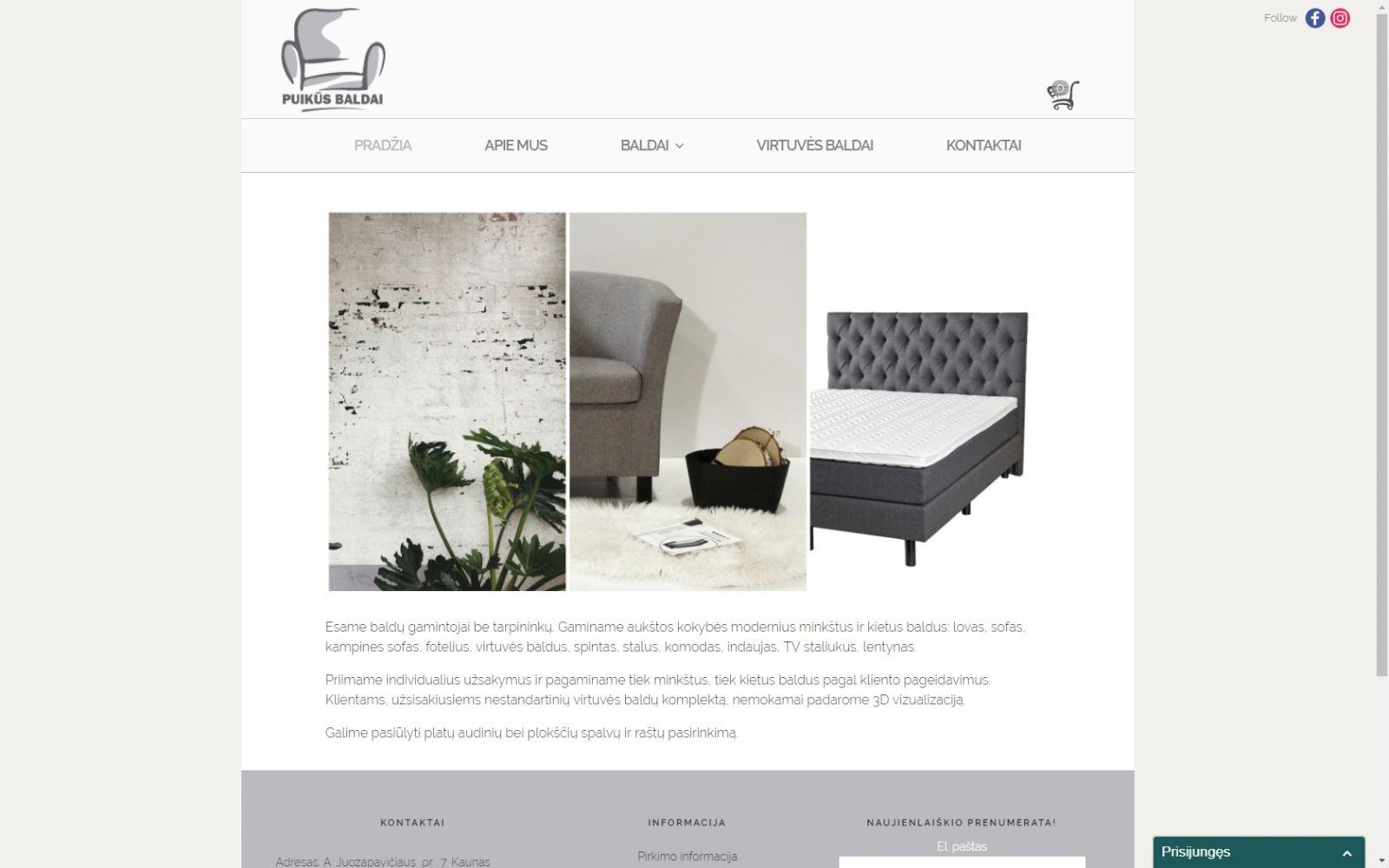 interneto svetainės kūrimas pagal kliento užsakymą baldų gamybos įmonei